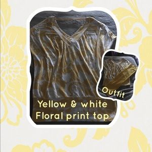 🌼Yellow & White floral printed top🌼